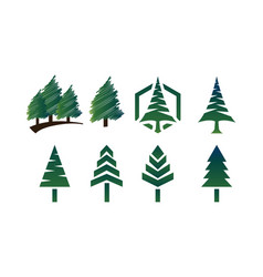 Collection of pine tree logo template vector