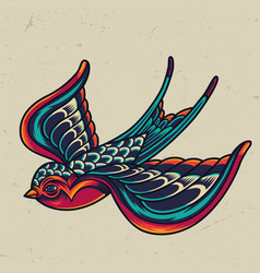 Colorful flying swallow template vector