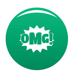 comic boom omg icon green vector image