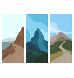 cover template vertical banner with mountain in vector image