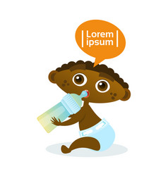 Cute african american baby boy eating from bottle vector