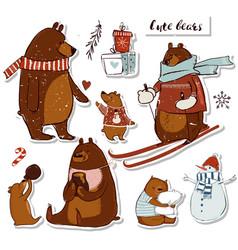 Cute bears set vector