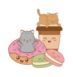 Cute little cats with donuts kawaii characters vector