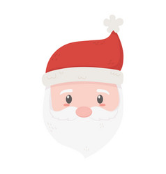 cute santa face with hat celebration merry vector image
