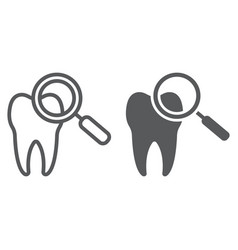 Dental check up line and glyph icon stomatology vector