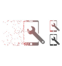 Disintegrating pixel halftone smartphone setup vector