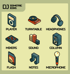 Dj color outline isometric icons vector