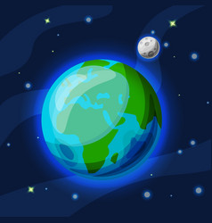 Earth with moon cartoon and flat vector
