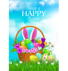 Easter egg hunt basket with bunny ears and flowers vector