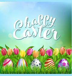 easter eggs on fresh green grass vector image
