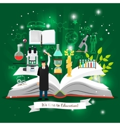Education infographics with open book vector image