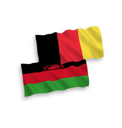 Flags belgium and malawi on a white background vector