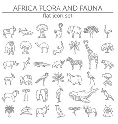 flat african flora and fauna elements animals vector image