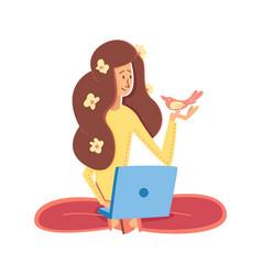 flat cartoon girl with a laptop freelancer vector image
