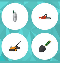 Flat icon dacha set of pump trowel lawn mower vector