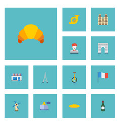 flat icons alcohol pantomime flag and other vector image