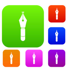 fountain pen nib set color collection vector image