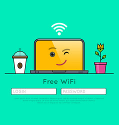 Free wifi access on laptop thin line icon vector