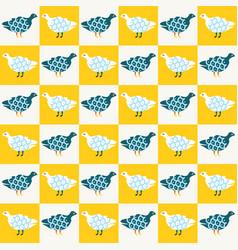 Funky cute bird mosaic seamless pattern vector