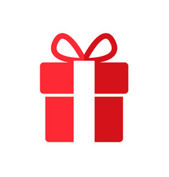 gift box icon in linear style with bow vector image