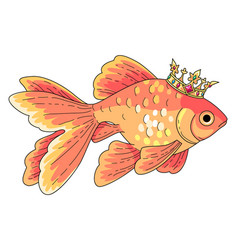 goldfish at gold crown vector image
