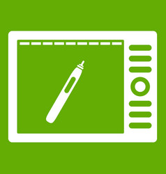 graphics tablet icon green vector image