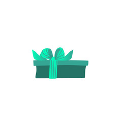 Green gift package tied with ribbon with big vector