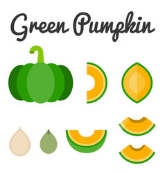green pumpkin set 2 vector image