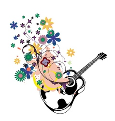 Guitar with floral vector