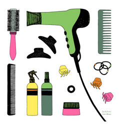 Hand drawn set of hair styling hair dryer vector