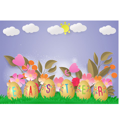 happy easter template with blue sky frame vector image