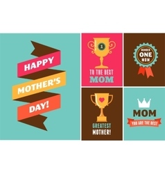 Happy Mothers Day ribbons trophy and elements vector image