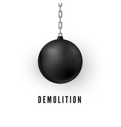 heavy black wrecking ball for buildings vector image