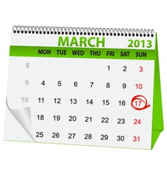 holiday calendar in St Patricks Day vector image