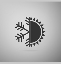 Hot and cold symbol sun and snowflake icon vector