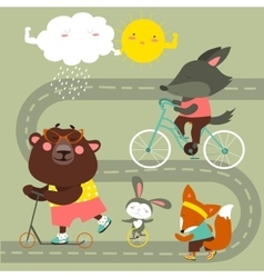 Kids transport collection with cute animals vector