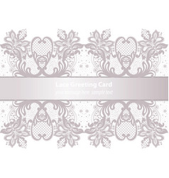 Lace greeting delicate card in pink powder color vector
