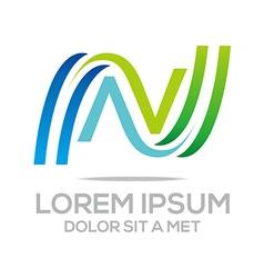 letter vn combination alphabet design icon vector image