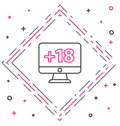 line computer monitor with 18 plus content icon vector image