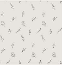 Line drawing floral seamless pattern vector