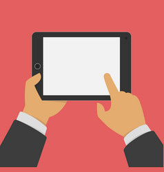 man holding tablet in hands vector image