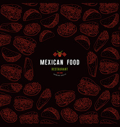 Mexican restaurant label and frame with pattern vector