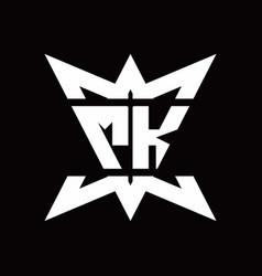 mk logo monogram with crown up down side design vector image