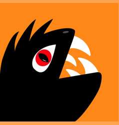 monster reptile head silhouette with red devil eye vector image