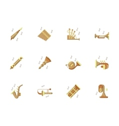 Music instruments flat color icons set vector