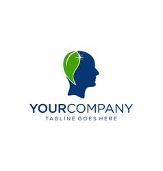 Natural green mind logo designs concept editable vector