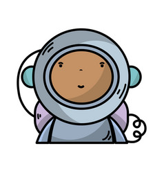 Nice astronaut with equipment to kawaii avatar vector