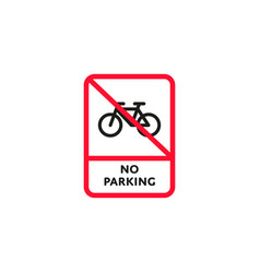 no parking bicycle roadsign isolated vector image