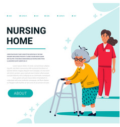 Nursing home web banner template old lady with vector