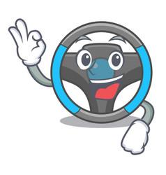 okay steering wheel in the character shape vector image